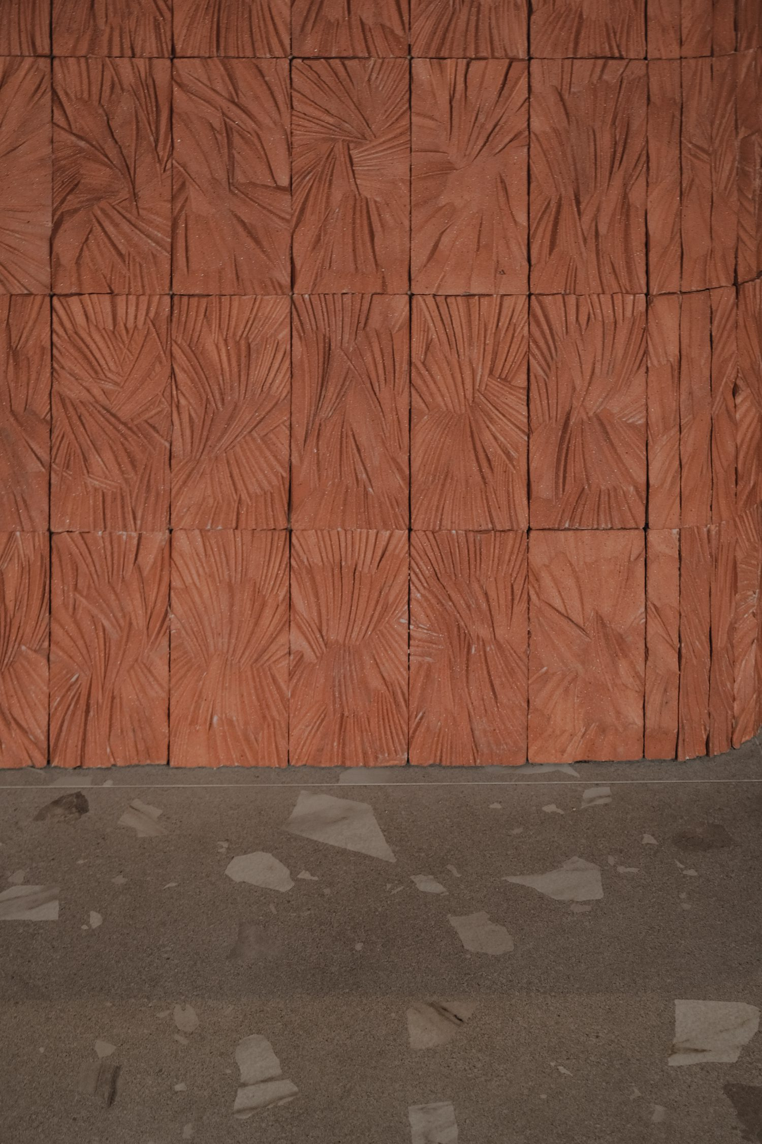 Materiolab fabricated the highly-textured brick tiles