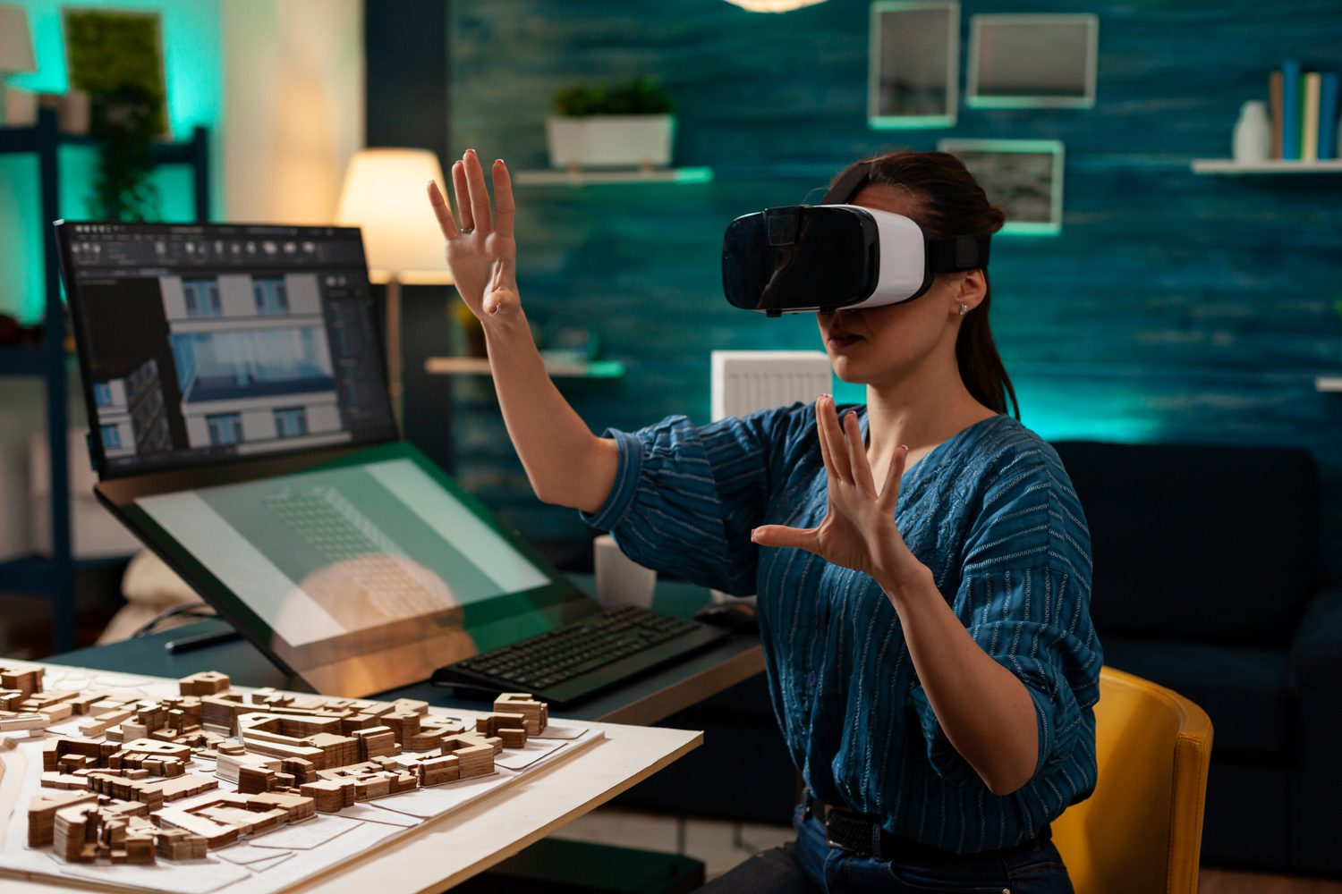 Modern business woman with vr glasses for innovation.