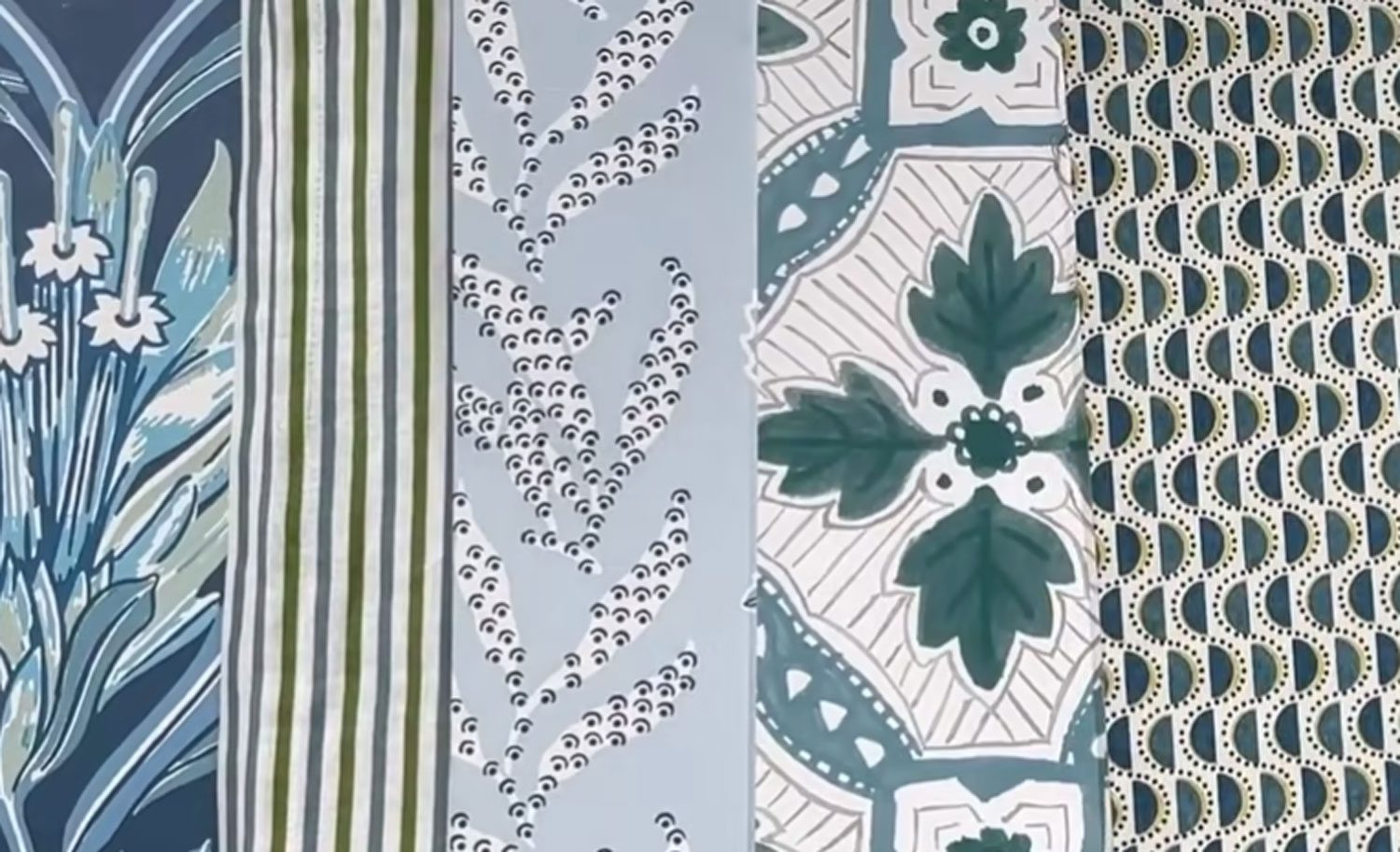 Textiles in subtle patterns of earthy neutrals.