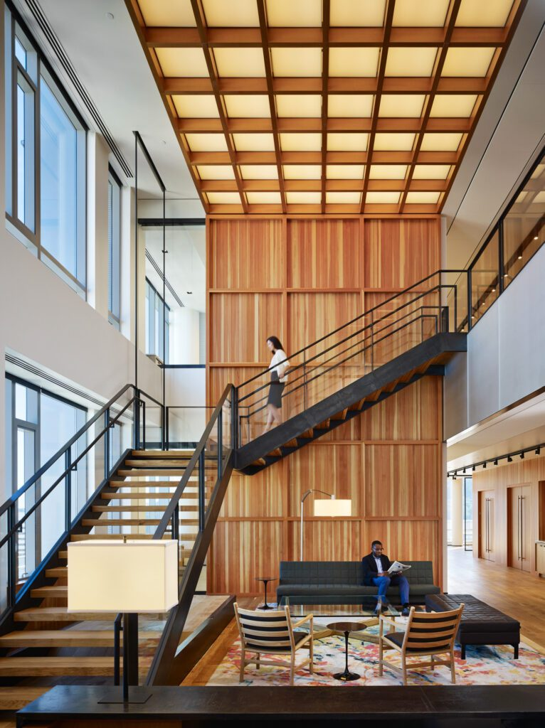 Stairwell at Stoel Rives LLP, Portland Headquarters. Photography courtesy of Eckert & Eckert.