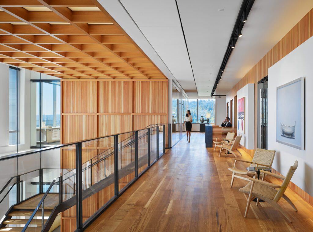 Hallway at Stoel Rives LLP, Portland Headquarters. Photography courtesy of Eckert & Eckert.
