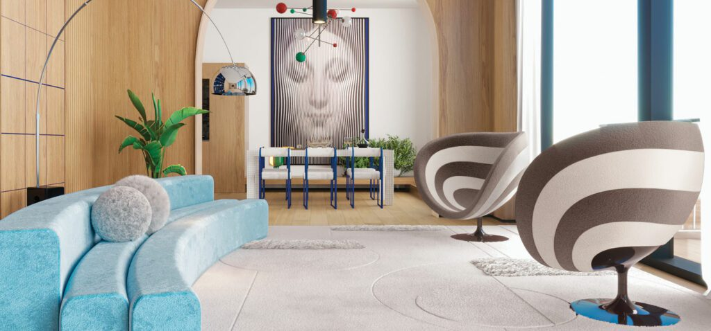 The living room of a Manhattan apartment with a blue curved sofa and artwork.