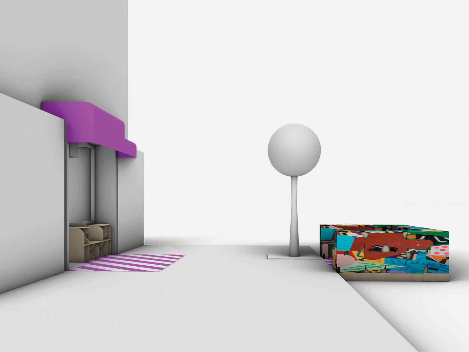 The proposed outdoor seating for Sisters Uptown Bookstore in Washington Heights.