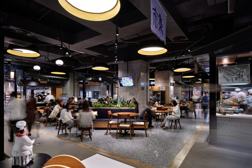 Seating areas were inspired by community courtyards.