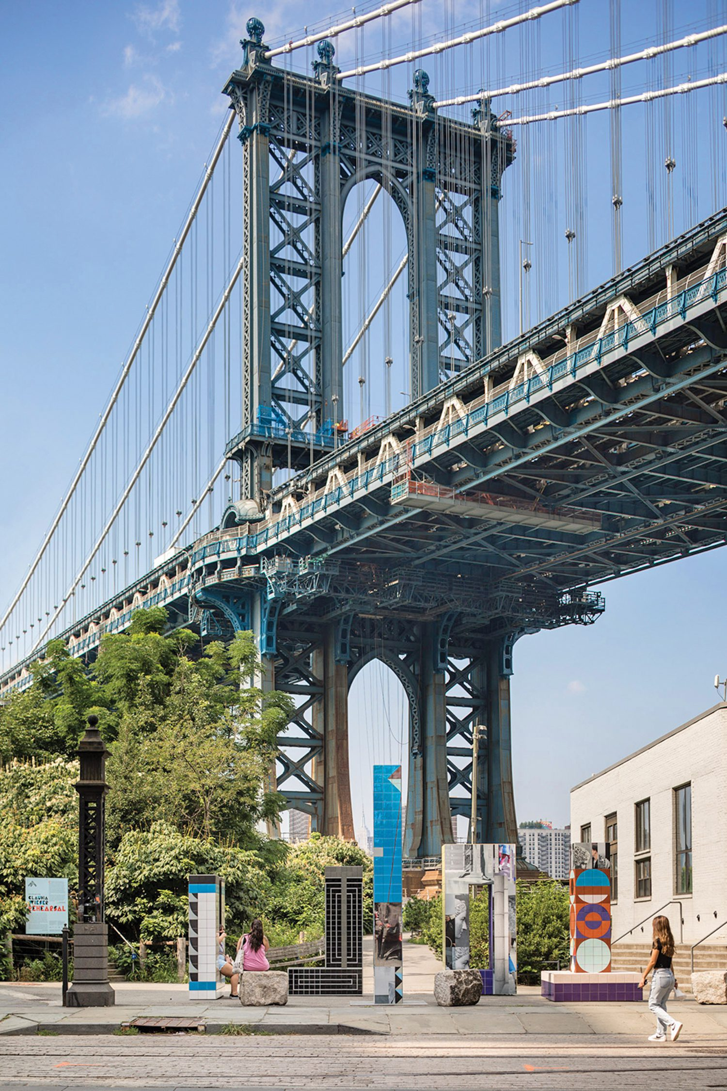 The five-piece interactive installation is located at DUMBO's Main Street Park at Brooklyn Bridge Park, by Washington and Plymouth Streets, through April 17, 2022.