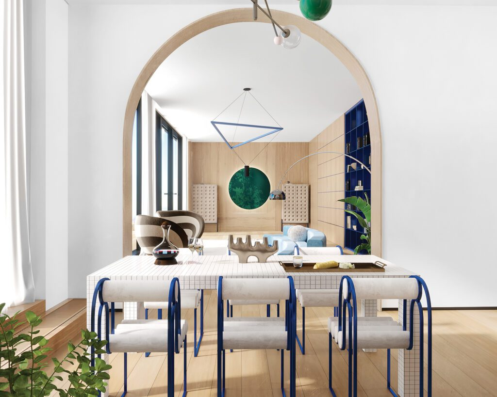 Archways, like this one between the living and dining areas, delineate spaces while keeping the 980-square-foot plan open.