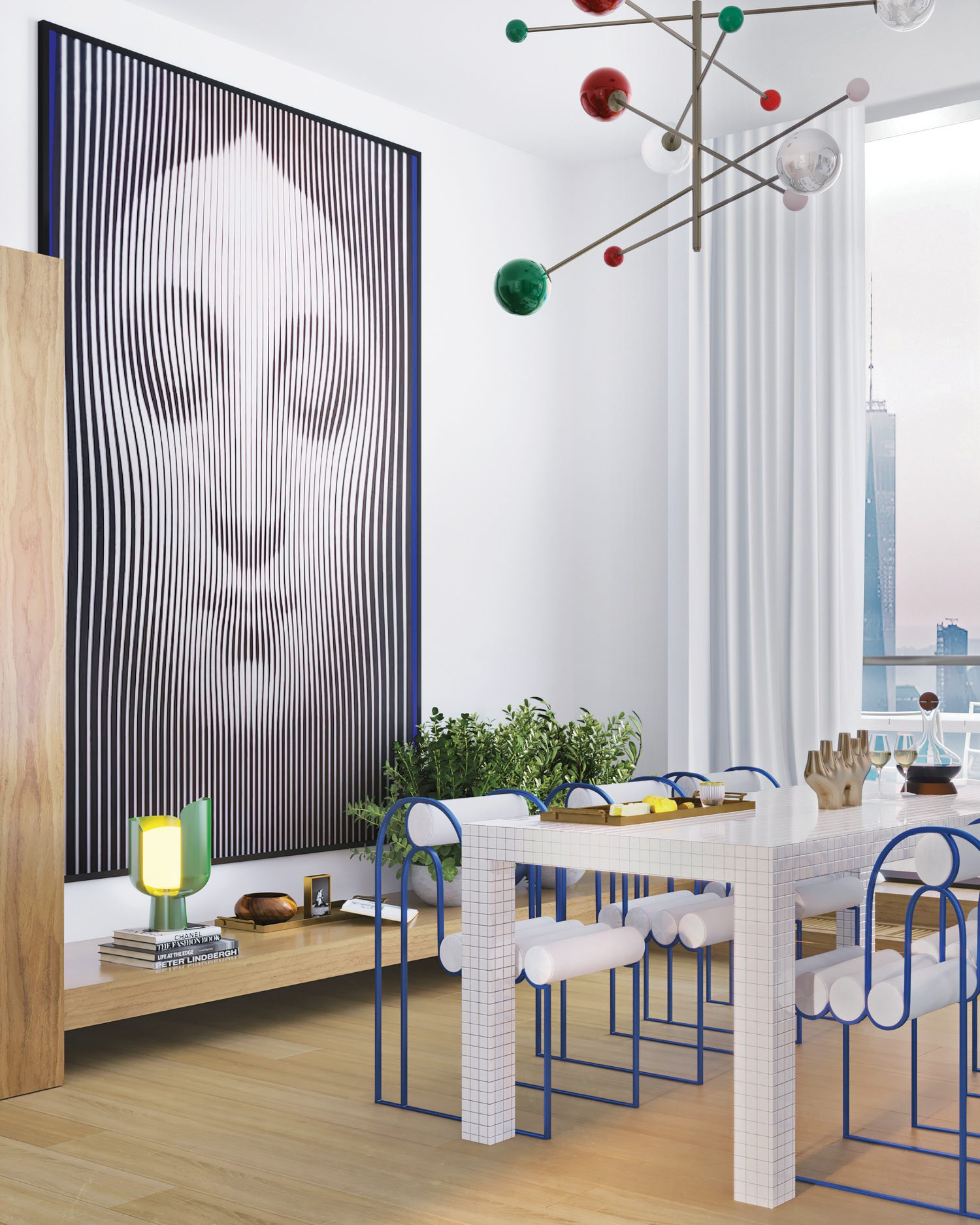 The latter is furnished with a Superstudio Quaderna table, Apollo chairs by Bohinc Studio, a custom pendant fixture, and Egor Ostrov's print on canvas.