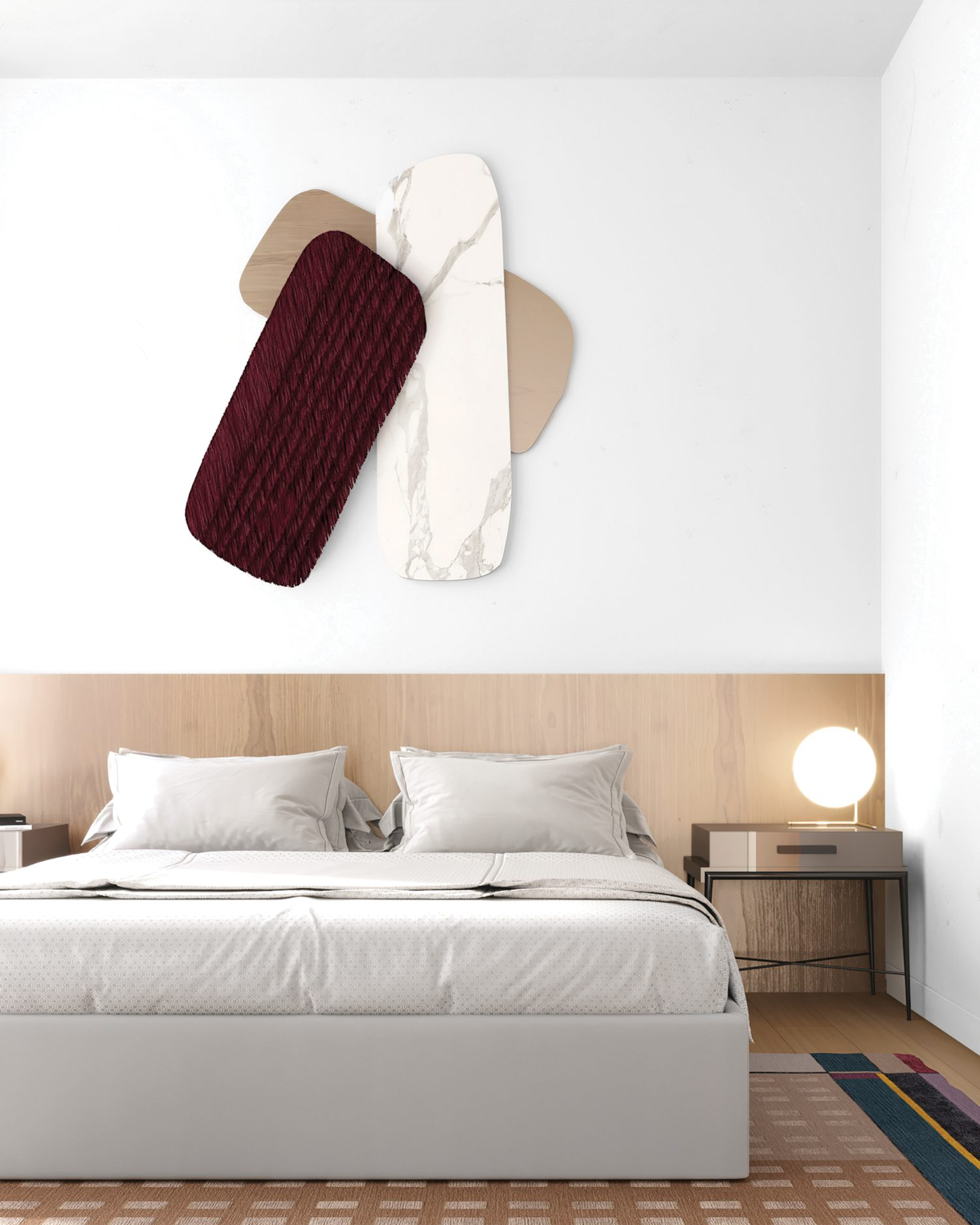 Natalia Enze designed the bed and nightstand and commissioned the wall sculpture in Carrara marble, oak, andmahogany.