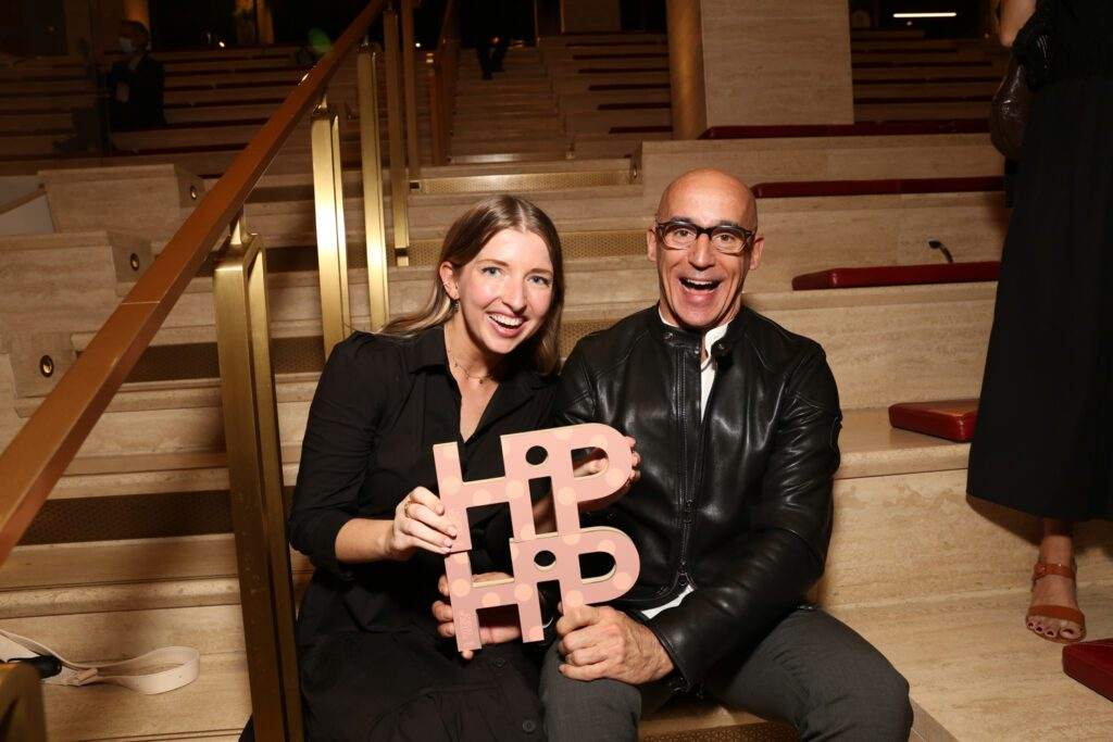 HiP Rising Star: Health and Wellness winner Mary Kate Cassidy with her HOK colleague Lifetime of Hipness: Workplace winner Bill Bouchey display their awards.
