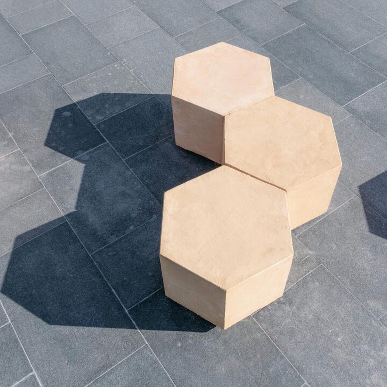 Hexagonal outdoor seating.