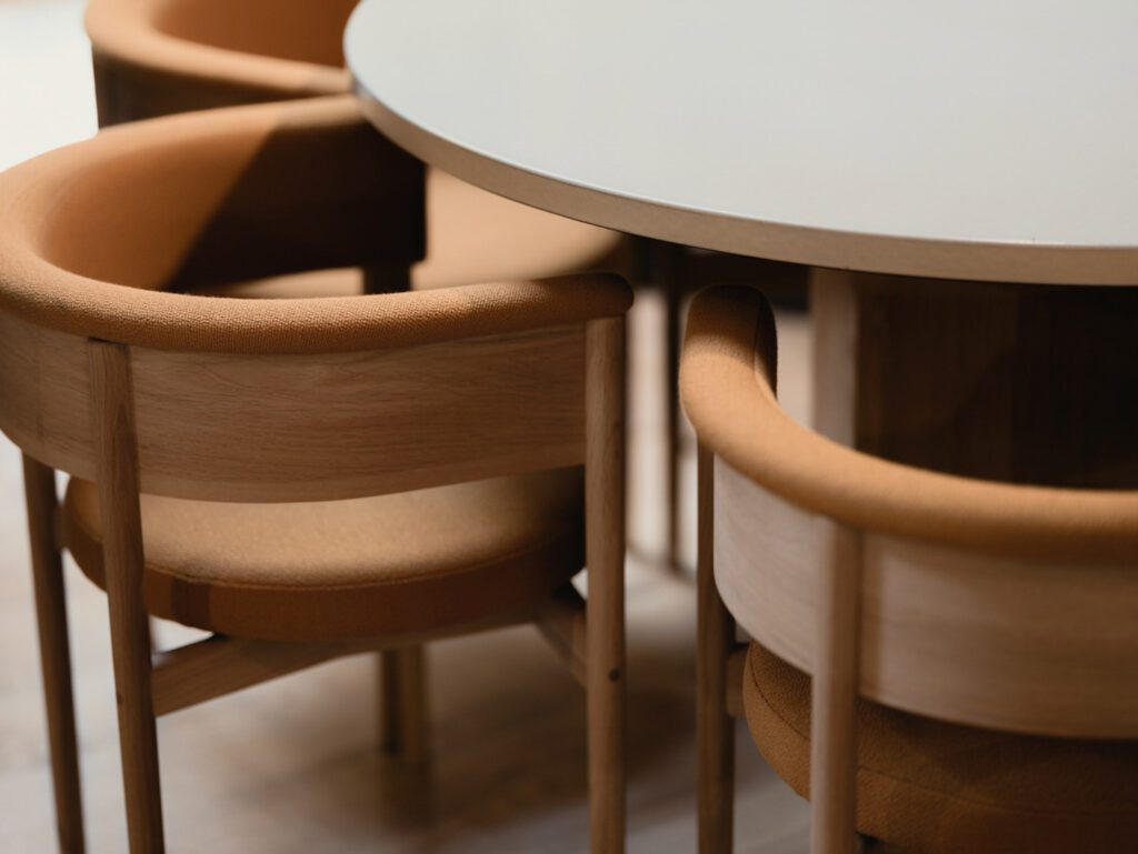 Chairs with a curved back used in a new high-end sushi restaurant, Pantechnicon.