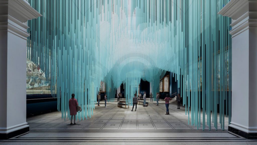 A digital visualization of an installation with teal forms suspended from above.