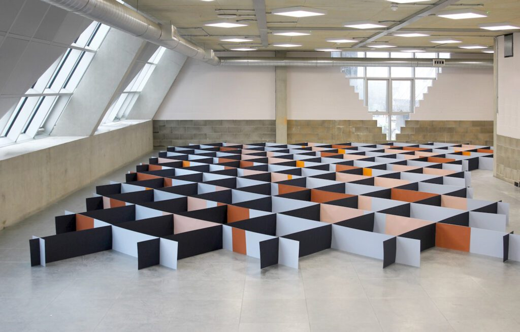 A maze-like diamond grid showcased the brand's 100 percent FSC-certified paper pulp wallpaper.