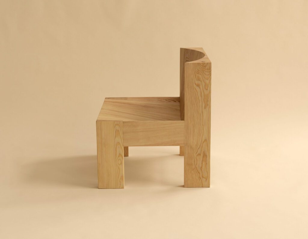 A close up of a wooden chair.