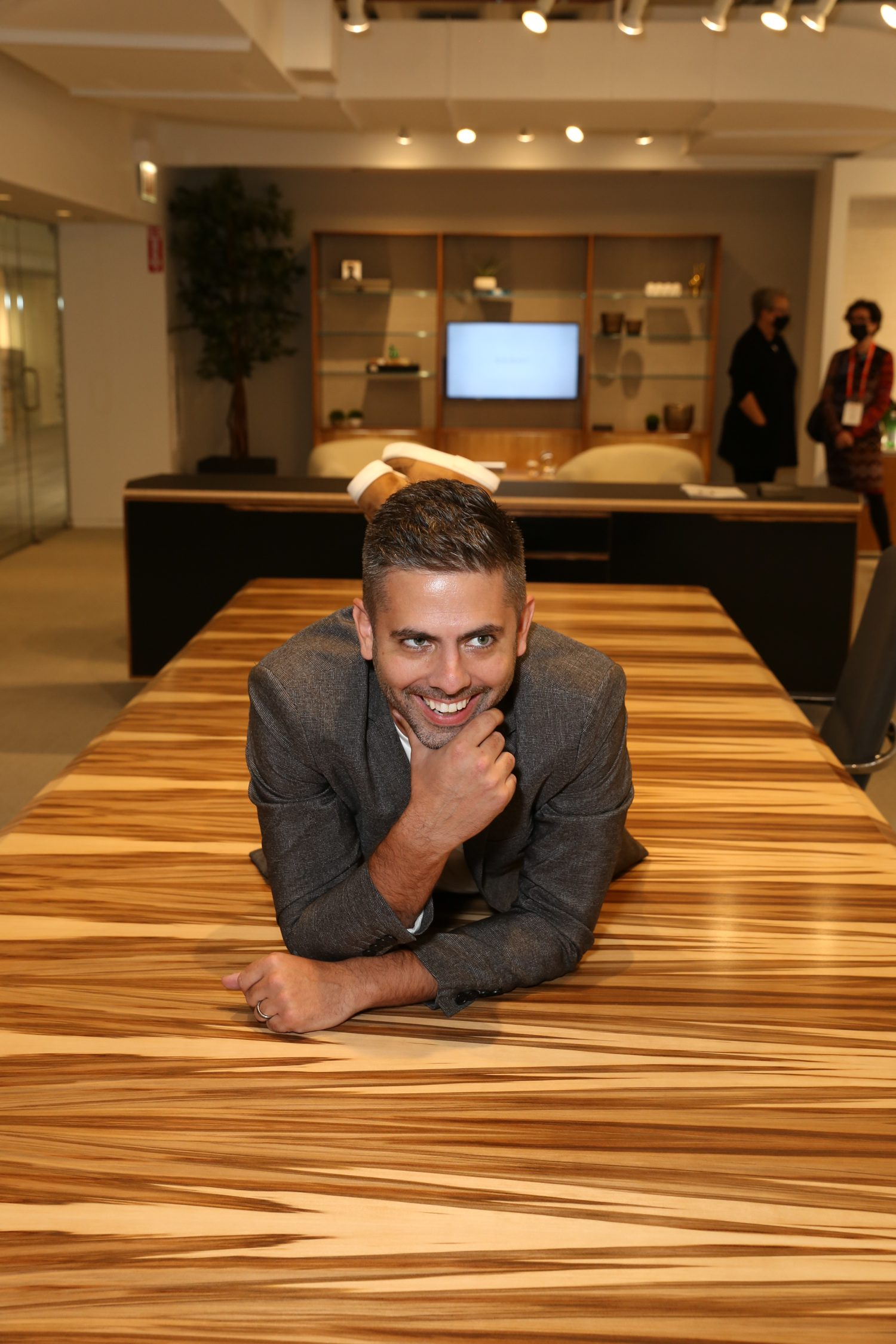 Andrew DeYoung of Nucraft with the Ascari Conference table.