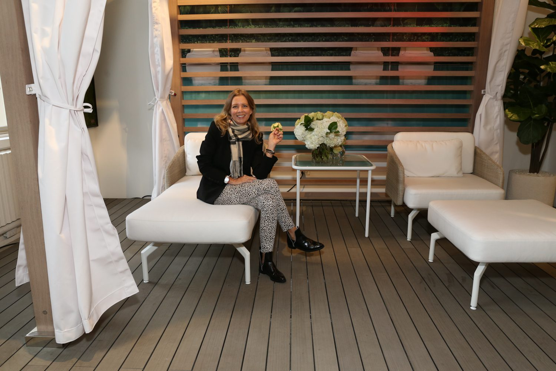 Kristin Adams, regional sales director at TUUCI with the brand's Solanox cabana.