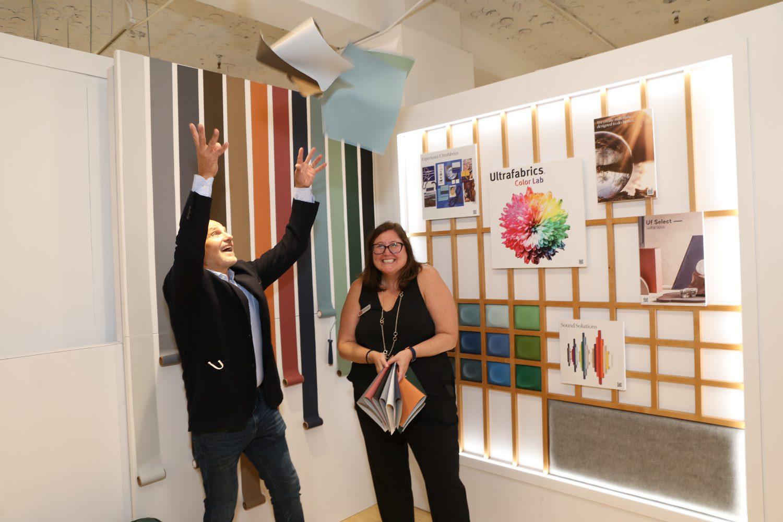 Clay Rosenberg, CEO, and Danielle O'Kane, senior director of sales, at Ultrafabrics with Volar Bio fabrics