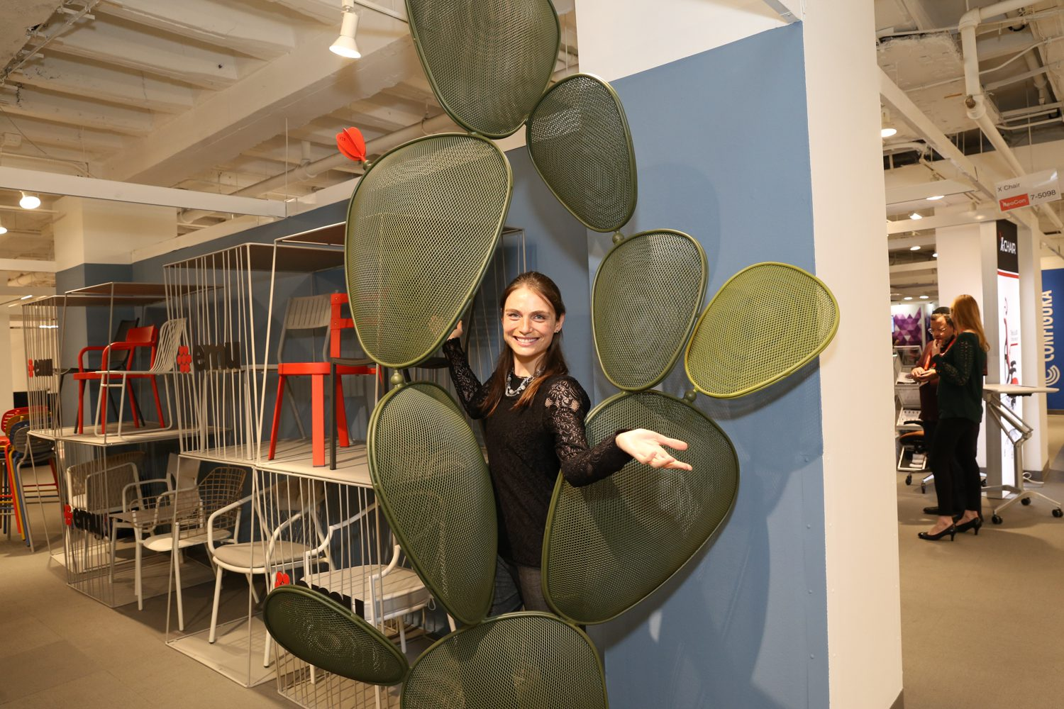 Sara Beets with the Cactus sculpture by Emu Americas.