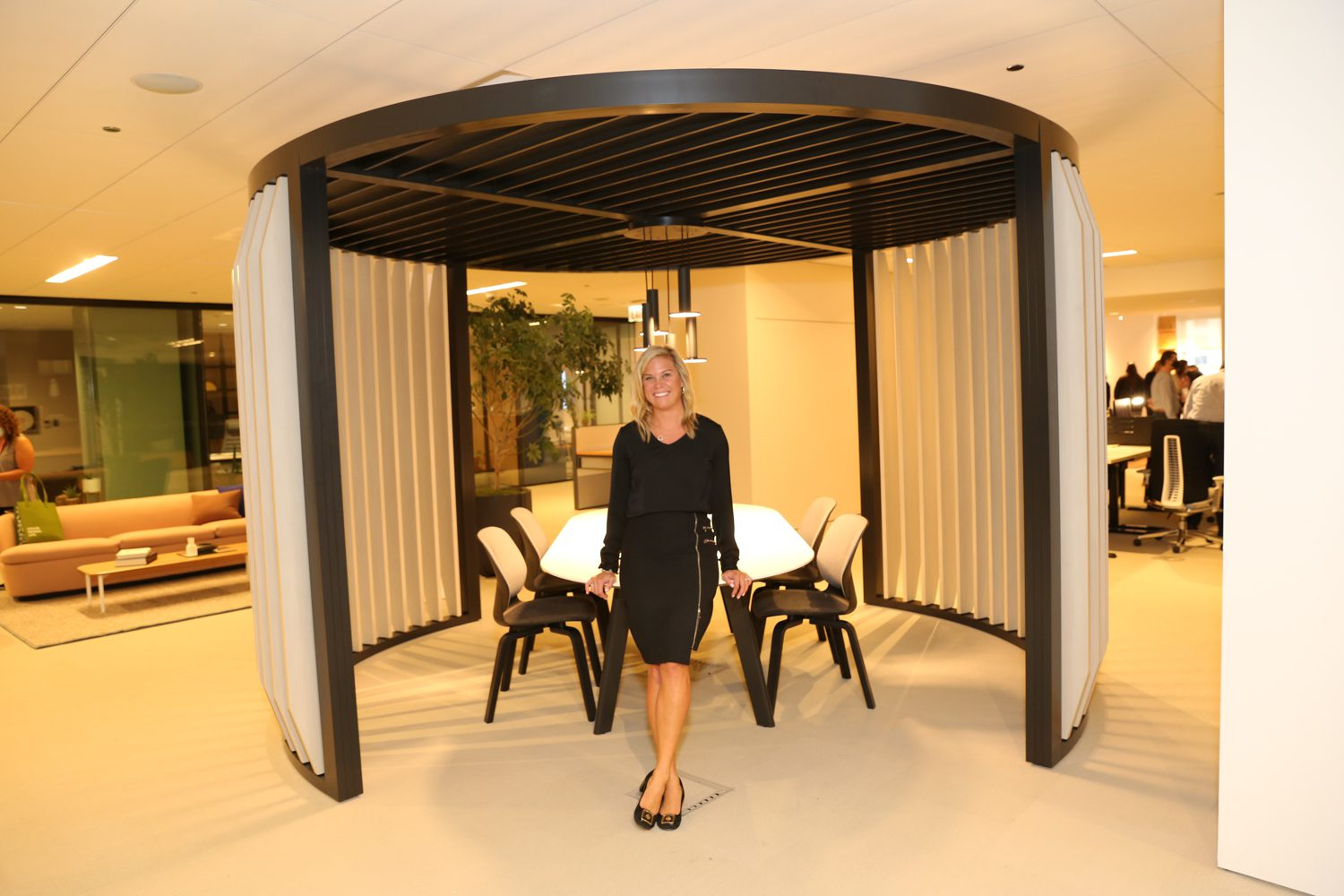 Jenna Ter Horst, field marketing and events manager at Haworth in the Pergola designed by Patricia Urquiola and Haworth Design Studio.