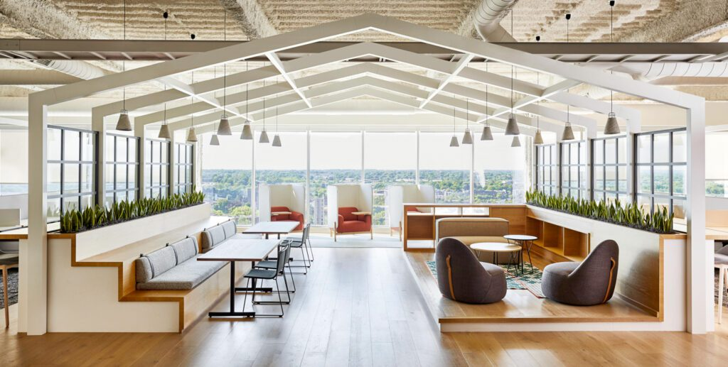 """""""Treehouse"""" areas on each floor break up the work environment, and encourage alternate spaces to meet and work. The house-like structure and window-like elements tie back to LendingTree's roots in the home mortgage industry."""
