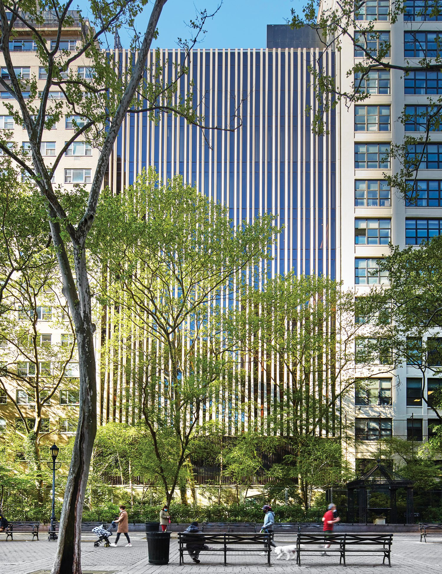 The Indiana limestone comes from quarries that supplied Rockefeller Center and the Empire State Building.