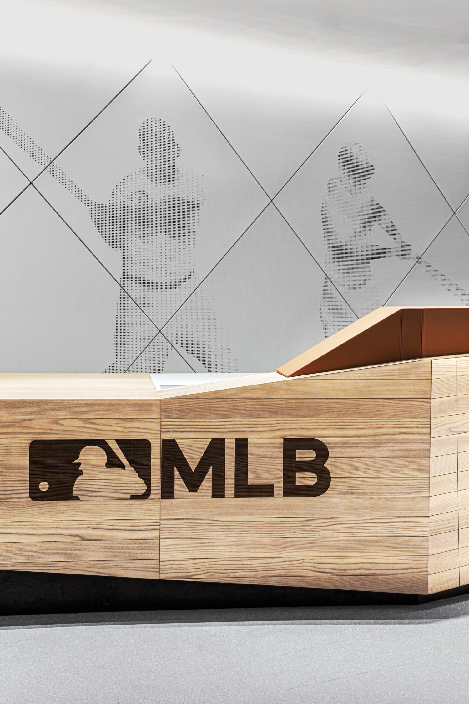 The ash-clad reception desk in the main lobby.