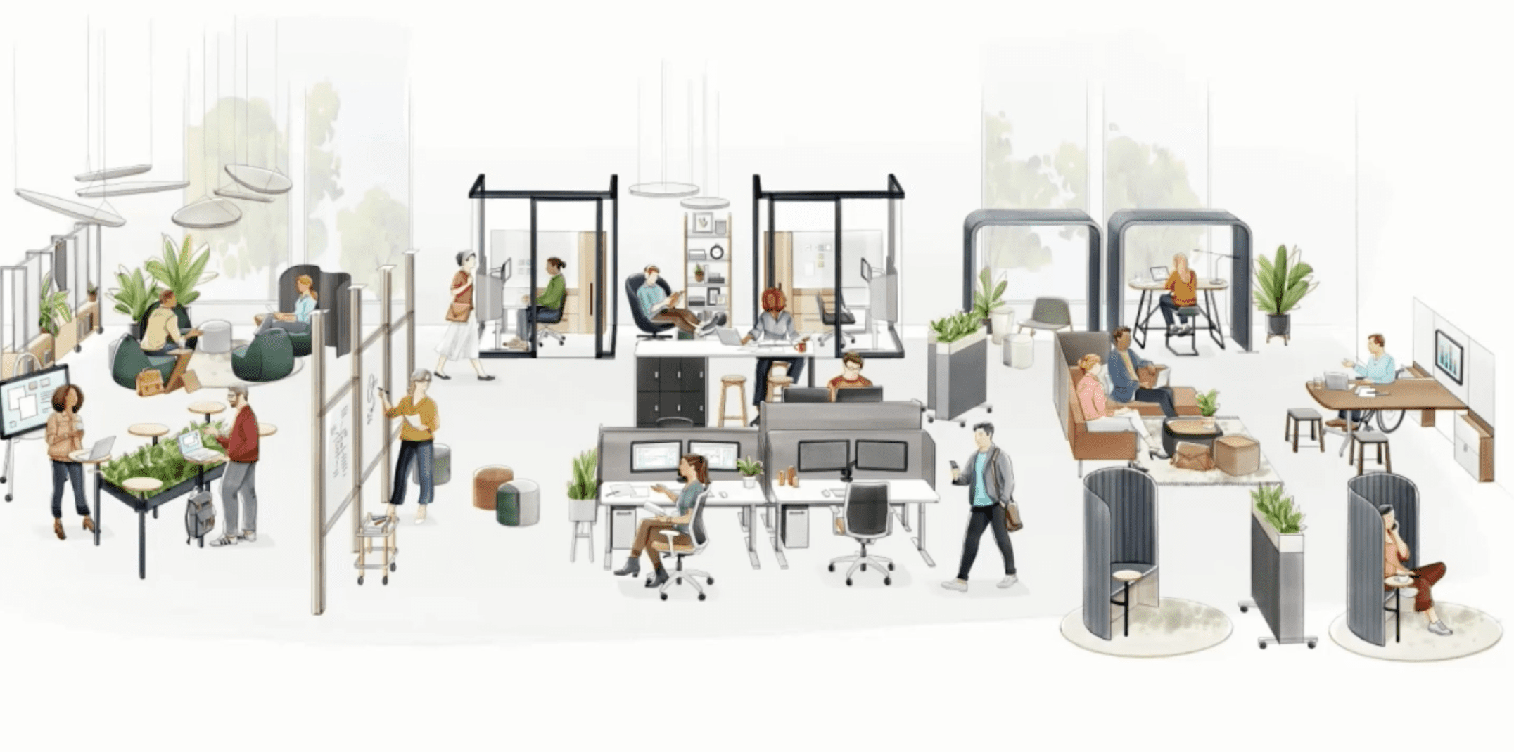 Workplace illustration provided for the Product Live: Allsteel and Corral video at NeoCon